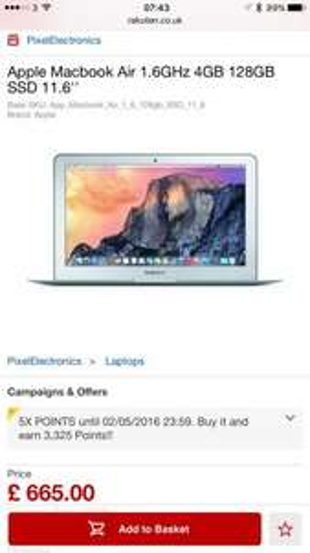 Apple Macbook Air 1.6GHz 4GB 128GB SSD 11.6'' £605 with code @ rakuten / pixelelectronics