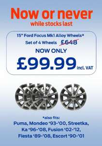 """RRP of £648 - 4x Original Ford (98/05 Focus, also fits other Fords) Alloys (15"""") for £99.99 @ Ford"""