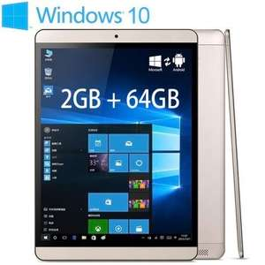 Onda V919 Air 64GB ROM Tablet PC  -  GOLDEN 158018101  Windows 10 + Android 4.4 Intel Z3735F 64bit Quad Core 1.33GHz 9.7 inch QXGA IPS Retina Screen 2GB RAM 64GB ROM Cameras Bluetooth 4.0 £110.37 With Code @ Gearbest