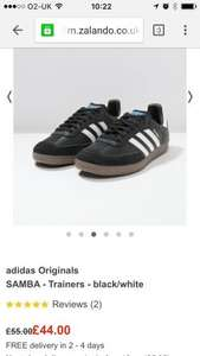 Mens adidas originals samba trainers £35.20 with code at zalando free delivery + quid o