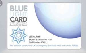 Blue light card discount for Emergency services, NHS and Armed forces