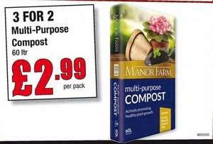 3 for 2 Multi-Purpose compost 60ltr a bag £3.59 @ Makro