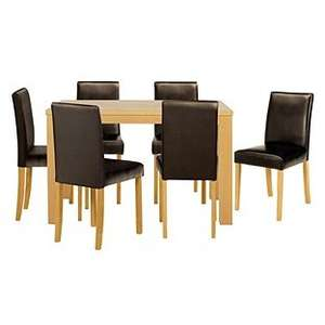 Pemberton Oak Or Walnut Effect Dining Table & 6 Chocolate OR 6 Black OR 6 Cream Chairs now £166.94 delivered using code @ Argos