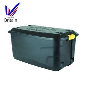 Strata Heavy Duty Black 145L Plastic Storage Box On Wheels 12 BQ