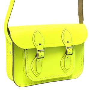 "Cambridge Satchel 11"" fluoro yellow leather - £30 Delivered (was £115) from Paperchase"