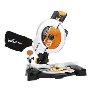 SCREWFIX EVOLUTION RAGE 210MM COMPOUND MITRE SAW 230V £49.99 Free Click & Collect