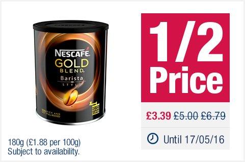 Nescafé Gold Blend Barista Style 180g £3.39 @ CoOP