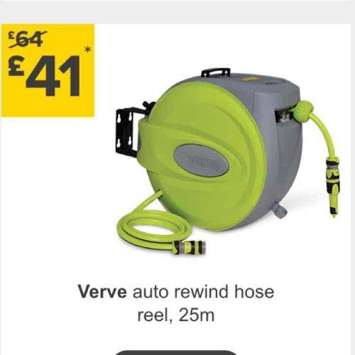 Verve 25m Auto rewind hose reel £41. @ B&Q.