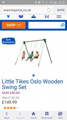 Little Tikes Wooden swing set - climbing frame £99 @ Toys R Us