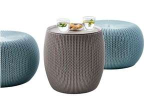 Keter Knit Indoor/Outdoor Ottoman Pooffe Pod Seat and Table Set - Misty Blue and Dune - £69.99 @ Amazon
