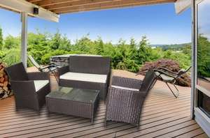 WATERPROOF 4pc Rattan Furniture Set £158.99 delivered normally- £698.99 @ Living Social