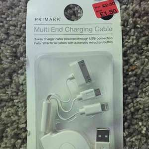 Multi End Charging Cable £1.50 @ primark instore