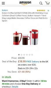Bodum Coffee Set Red £18.99  (Prime) / £23.74 (non Prime)  Sold by Electronics and Gadgets Direct Ltd and Fulfilled by Amazon.