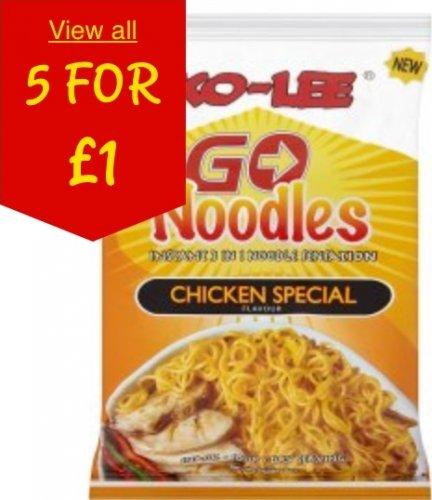 Ko-Lee Go Chicken & Xtreme Hot 85g Noodles 5 for £1 @ ASDA