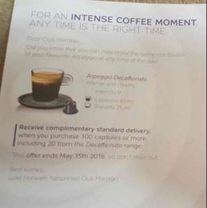 Nespresso free delivery on 100+ capsules