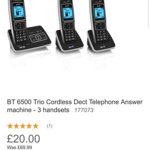BT6500 Trio Cordless Phone + Answer machine. 3 handsets reduced to clear at Homebase was £69 now £20