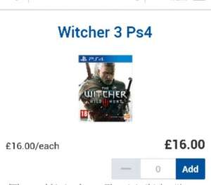 witcher 3 ps4 / Xbox one - £16 tesco instore (+£4 online)