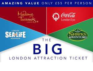 Priority Entry Admission to The Coca-Cola London Eye, SEA LIFE London Aquarium, Dreamwork's Tours Shrek's Adventure! London & Priority Entry to Madame Tussauds including Star Wars £50pp based on Fam 4 @ Attractiontix