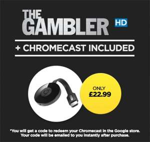 Google Chromecast 2 + The Gambler HD or Paranormal Activity £22.99 @ Wuaki