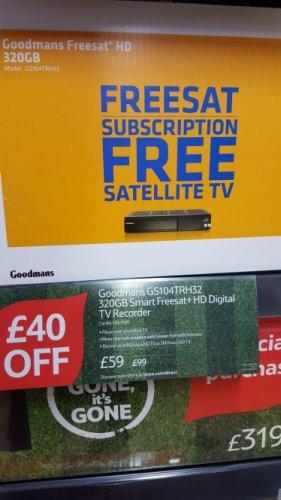 Goodmans GS104TRH32 Smart Freesat+ HD Digital TV Recorder - 320GB £59 @ tesco Mansfield