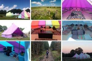 Wiltshire Glamping: 2 Night Bell Tent Stay with BBQ kit PLUS day out at Longleat Safari Park from £50pp based on a family four / £55p based on Fam 5 via Groupon