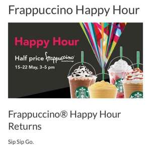 Starbucks Frappucino Happy Hour - between 3-5 pm (or 6pm if you registered Starbucks apps).