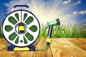 50ft Garden Flat Hose & Spray Nozzle - 7 Settings! for £10.97 delivered from livingsocial