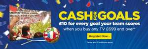 £10 cashback for EVERY GOAL your team scores at Euro 2016 (when you buy a TV £699 or more) @ Currys