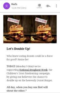 BOGOF: Reds True Barbeque Donut Burger £12 - Mon 9th May, National Donut Week