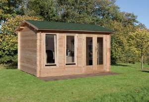 "Forest Garden Chiltern 34mm Log Cabin 13ft 1"" x 9ft 8"" (4.0 x 3.0 m) - Installed - £2999.89 @ Costco"