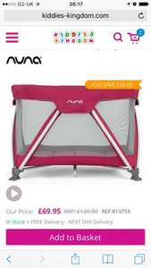 Nuna Sena Mini Travel Cot-Raspberry And navy colours £69.95 (Rrp £120) delivered @ kiddies kingdom