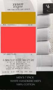 7 Pack White Cotton  Men's Handkerchiefs £2.00 @ Tesco instore