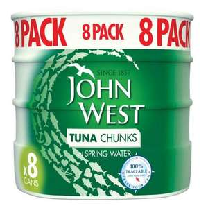 Packs of 8 X 160g John West Tuna Chunks In Spring Water or Brine now £5 instore / online @ Morrisons