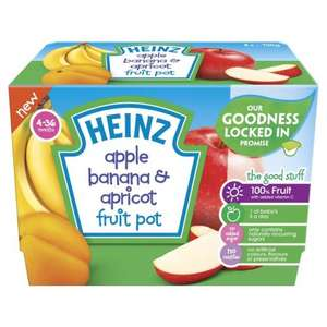 Heinz apricot and banana fruit pot x 4- baby food £0.39 B&M Milton Keynes