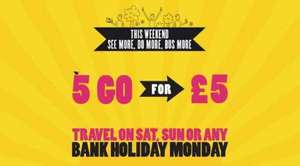 York Bus Travel on any Weekend During May 5 People can Travel Together on One Ticket for Just £5. @ First group