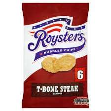 Roysters bubble chips T-bone steak/Southern fried chicken 6 pack 69p @ Farmfoods