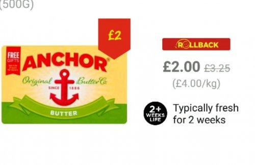 anchor butter 500g £2.00 @ Asda