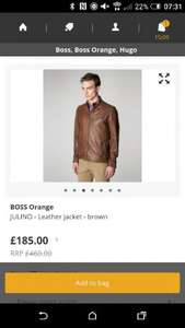 BOSS OrangeJULINO - Leather jacket - brown £185 @  ZALANDO LOUNGE £185