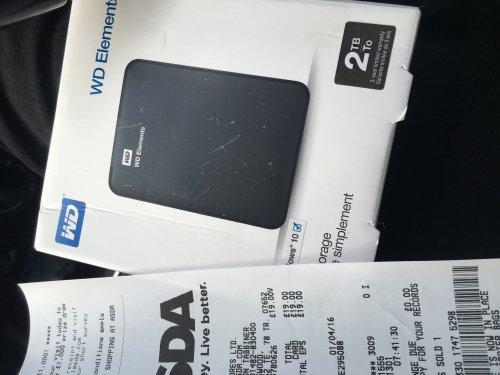 WD Elements 2TB Portable Hard Drive £19.00 at Asda Hull