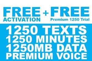FreedomPop SIM only 1.25GB data, 1250 minutes, 1250 texts £4.99 1 month