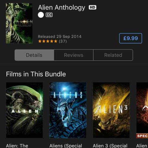 Alien anthology HD (4 films) for £9.99 on iTunes