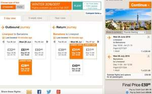 Liverpool-barcelona 29th june- 6th July - £59.98 return @ Easyjet