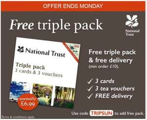 FREE triple pack of NT cards with 3 free tea for two vouchers & free delivery - minimum spend £10 pinkandgreene