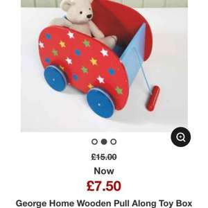 Asda wooden pull along toy box was £15 now £7.50