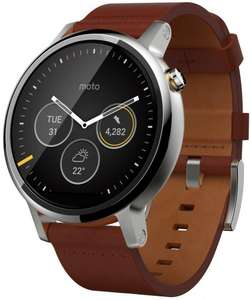 Motorola Moto 360 Mens Large Smartwatch and Heart Rate/Activity Tracker with Bluetooth Connectivity Compatible with iPhones and Android Smartphones - Cognac Leather @ Amazon