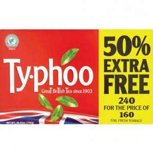 240 TYPHOO TEABAGS 160 + 50% FREE £2.49 - POUNDSTRETCHER