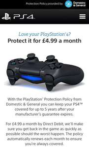 Protect your PS4 @ Sony/Domestic & General from £4.99pm
