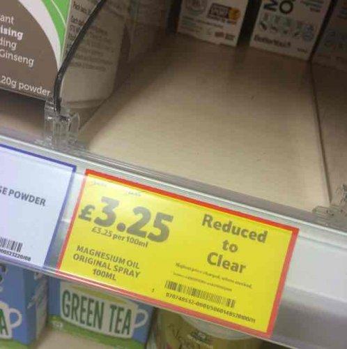 Magnesium oil spray £3.25 Tesco Chorley