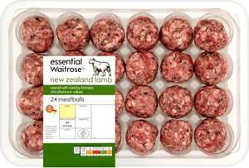Essential Waitrose New Zealand Lamb Meatballs (24 per pack - 610g) was £4.49 now £2.24 @ Ocado