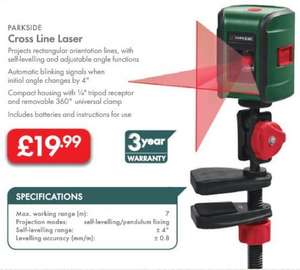 Cross Line Laser - £19.99 LIDL (Parkside) - 3 Year Warranty -  May 30th